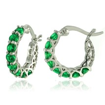 """Made with Swarovski Crystals 1.5 inches round  hoop Earring -green  0.86"""" - $9.79"""