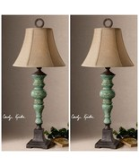 TWO CRACKLED BLUE GREEN CERAMIC TABLE LAMPS BRONZE ACCENTS LINEN SHADES ... - $409.20