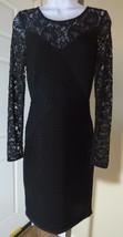 Elegant Calvin Klein Black wrap style Lace top & long Sleeve Dress Sz 4 - $51.48