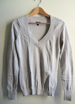 EXPRESS Women's Metallic Silver V-neck Sweater Cotton/Rayon Solid Size M... - $29.69