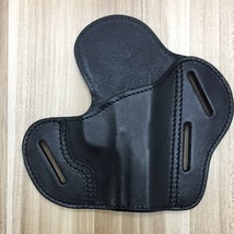 Holster Hopper OWB Genuine Top Grain Leather,3 Slot Pancake Style Belt H... - $36.98
