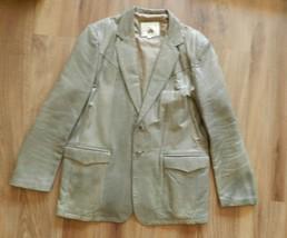 Vtg Americana Leather Mens Western Blazer Size 48 Grey Jacket Cowboy Coat - $57.41