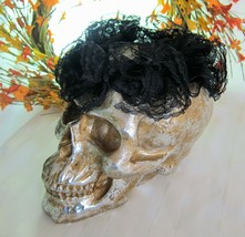 """Halloween LARGE Gold & Silver SUGAR SKULL w/ BLACK LACE CROWN Decor 10"""" NEW - $22.05"""