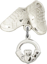 Sterling Silver Baby Badge with Claddagh Charm and Baby Boots Pin 1 X 5/8 inch - $58.80