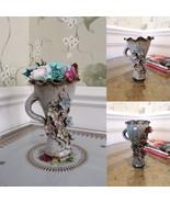 Embossed Ceramic Vase with Preserved Natural Flower Arrangement Everlast... - $64.95+