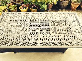 Fire pit propane bar table set 7 piece outdoor cast aluminum Palm Tree bar stool image 7