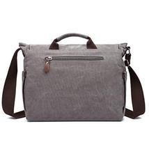 Gimay 15 inch Laptop Messenger Bag Canvas Briefcase Computer Bag Grey image 3