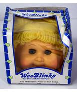 Vintage 1985 WeeBlinks Cute Funny Baby Doll Girl Blonde Hair Moving Blue... - $18.99
