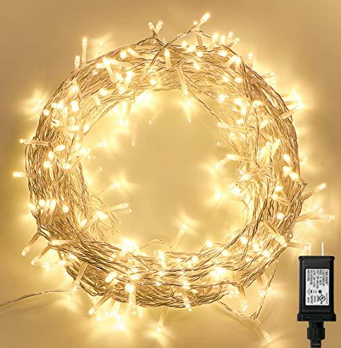 Koopower 300 LED Indoor String Lights with Remote and Timer on (Warm White)