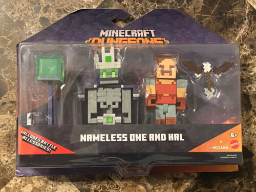 Primary image for MINECRAFT Dungeons NAMELESS ONE AND HAL Figures Battle Accessories Mojang 2020