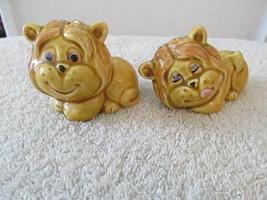 Vintage Enesco Smiling Tawny Lion Salt & Pepper Shaker Set w/ Original S... - $9.70