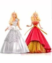 Celebration Barbie 2015 Hallmark Tree Ornament Set  Holiday Barbie Fashion - $29.69