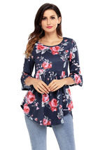 Navy Grounding Floral Print Babydoll Top  - $18.83