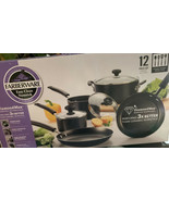 Farberware 12-Piece Easy Clean Nonstick Pots and Pans/Cookware Set, Black - $37.83