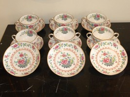 Staffordshire Bailey Banks & Biddle Set Of 6 Double Handled Cups And 9 Saucers - $249.00