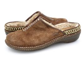 Ugg Womens 10 Brown Kohala Suede Slip On Shearling Lined Wedge Mule Shoe... - $32.99