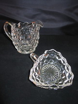 "Fostoria American Cube 4"" Creamer & 4 3/4"" 3 Sided Candy Nut Dish Clear VFC - $22.95"