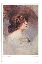 Sehnsucht Beautiful Woman Prof Eduard Veith Artist BKWI Austris 884a 1 P... - $5.50