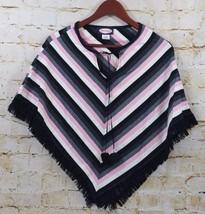 Zoey Beth Junior Girls Poncho Cover Up One Size Striped Pom Poms Fringe ... - $14.84