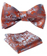 SetSense Men's Floral Jacquard Wedding Party Self Bow Tie Pocket Square ... - $29.40