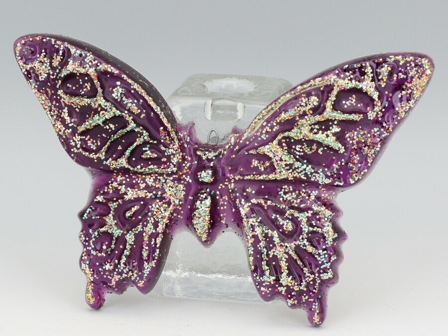 """Vinatage 1960s Poured Resin Acrylic Puple Glitter Butterfly 7"""" Wide 4 1/2"""" Tall"""