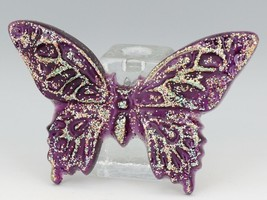 "Vinatage 1960s Poured Resin Acrylic Puple Glitter Butterfly 7"" Wide 4 1/2"" Tall"