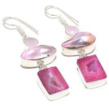 "Pink Geode Druzy, Biwa Pearl Jewelry Earring 2.6"" RJ3891 - $6.99"