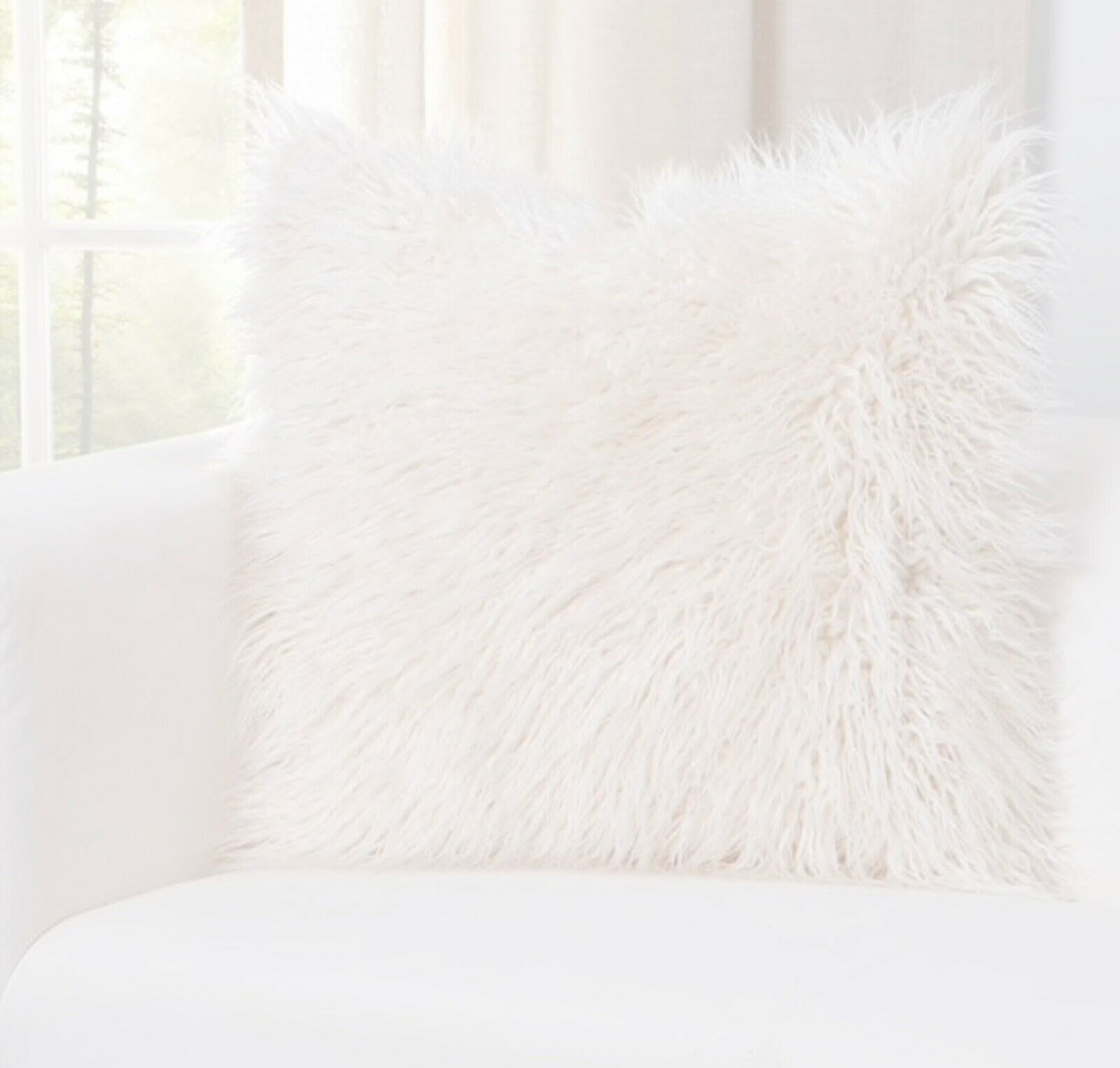 "Primary image for Faux Fur Designer Llama Throw Pillow 16"" x 16"" In color White/Creme"