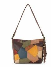 The SAK Brown Multi-Patchwork Tote Indio Demi Mixed Leather Stud Zip New - $101.89