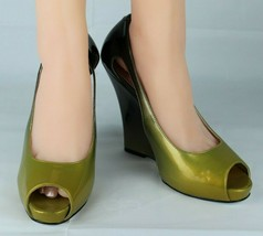 Jessica Simpson pensly women's wedge heels shoes green open toe size 10B image 2