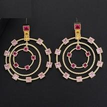 Women's Luxury Round Circle Long Dangle Earrings Cubic Zircon Fashion Jewelry - $33.24