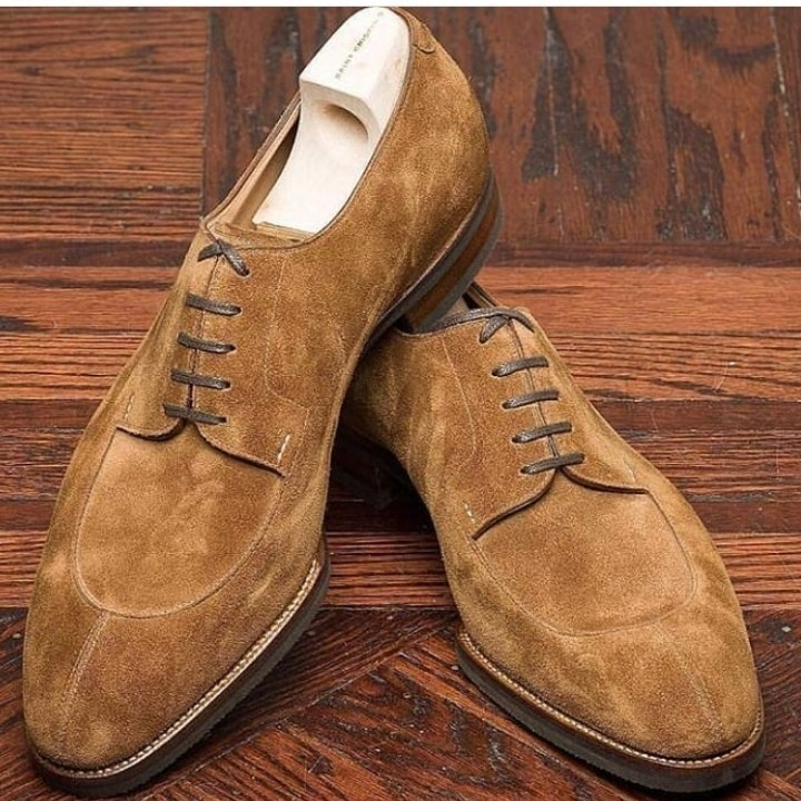 Handmade Brown Suede Lace Up Dress/Formal Oxford Shoes For Men