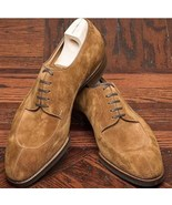Handmade Brown Suede Lace Up Dress/Formal Oxford Shoes For Men - $134.99+
