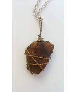 Quiet Heart Necklace: Estonian sea glass in bronze wire with multicolor ... - $34.00