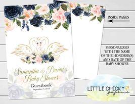 Swan Baby Shower invitation, Blush Pink and Navy Swan Baby Shower Invita... - $9.99+