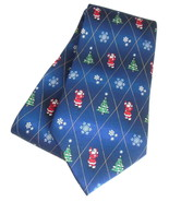 Mens Christmas Neck Tie Holiday Traditions Hallmark Small Print Navy Blu... - $11.95