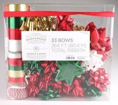 Wondershop Gold Red White Green 264 Ft Ribbon 33 Bows Gift Wrapping Kit Set NEW image 1