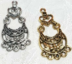 FLORAL CHANDELIER FINE PEWTER PENDANT OR EARRING PART - ONE TO FIVE - 18x38x2mm