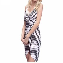 Spaghetti Strap Stripe Women Irregular Mini Dress - $27.98