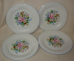 Victorian Rose by Tabletops Unlimited Embossed Rim Floral Center 4 Dinner Plates - $19.79