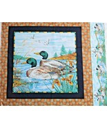 "2 Mallard Ducks Swiming Quilting Crafting Sewing Fabric Pillow Panel 18""... - $5.93"