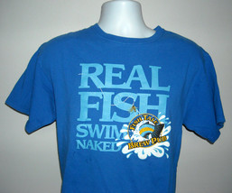 Mens Real Fish Swim Naked Fish Brewing Co Fish Tale Brew Pub T Shirt large - $21.73