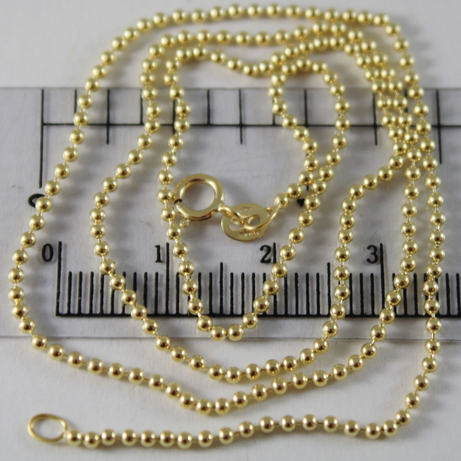 18K YELLOW GOLD CHAIN MINI BALLS BALL SPHERES 1.5 MM, 23.60 INCH, MADE IN ITALY