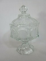Vintage Fostoria Coin Glass Clear Lidded Wedding Bowl Candy Dish with Lid - $39.59