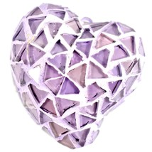 Concrete & Crushed Lilac Mosaic Glass Heart Shaped Ornament Handmade in Mexico image 1