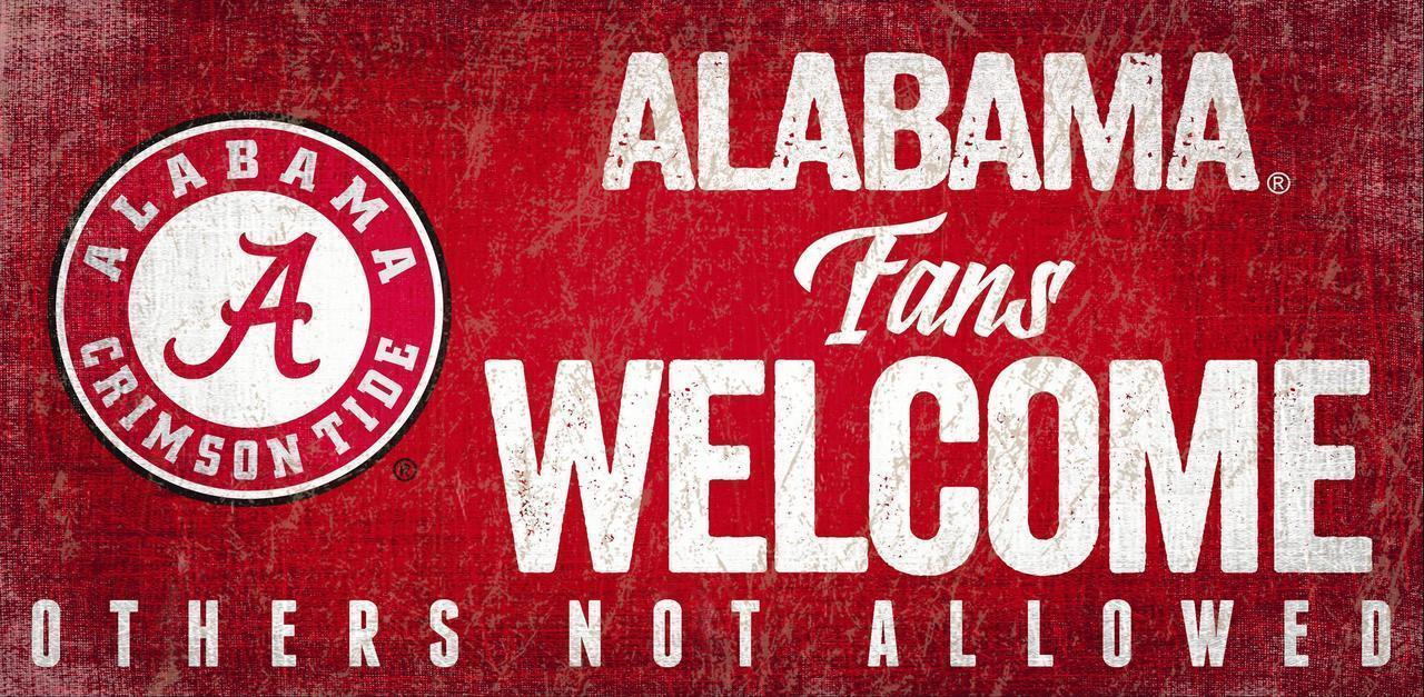 "ALABAMA CRIMSON TIDE FANS WELCOME WOOD SIGN with ROPE 12"" X 6""  NCAA MAN CAVE!"
