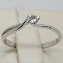 White Gold Ring 750 18K, Solitaire with Diamond Carat 0.07, Criss Crossed, Italy image 2