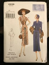 Vogue V9126 Vintage Model Original 1947 Design 2 Styles Dresses Uncut Si... - $23.49