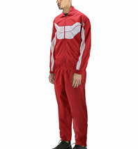 Men's Casual Running Jogging Gym Fitness Straight Leg Red Tracksuit Set 3XL