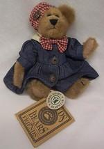 "Boyds LITTLE TEDDY BEAR IN DENIM DRESS 6"" Plush STUFFED ANIMAL NEW - $16.34"